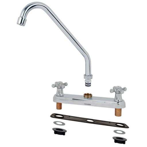 Mezcladora para fregadero al piso con cubierta y manerales - 11003