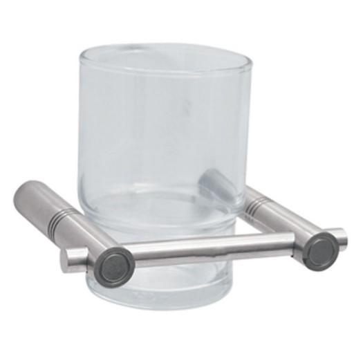 Portacepillos con vaso de cristal de empotrar INOX - 9807