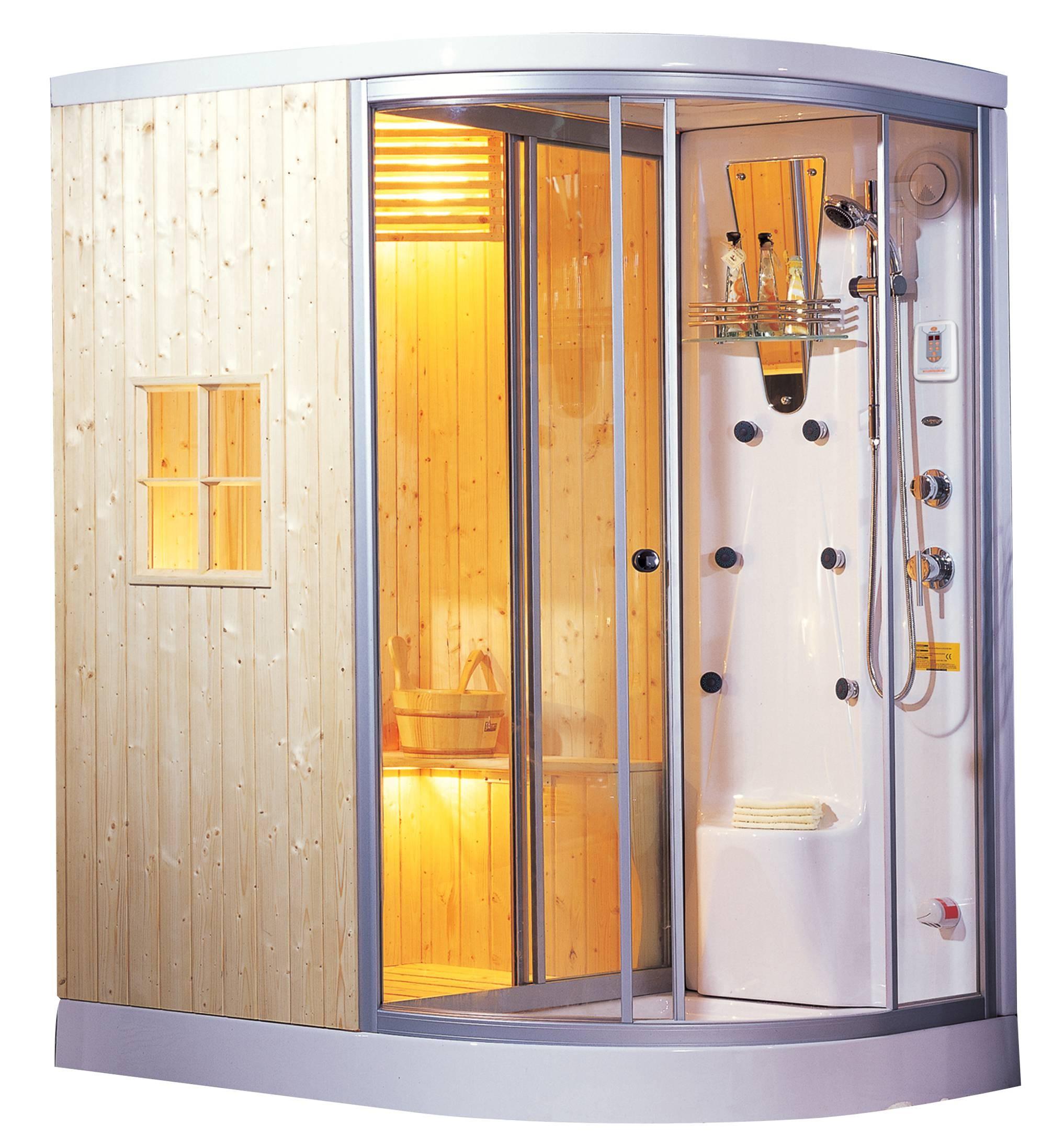 cabina de sauna y vapor madera natural sellada ag 0201