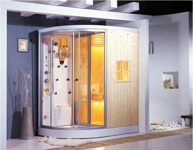 Cabina Sauna Vapor : Cabina de sauna y vapor madera natural sellada ag izq der