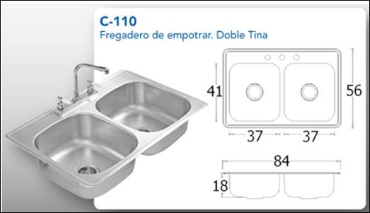 Tarja de empotrar satinada de doble tina s escurridero c 110 - Dimensiones fregadero ...
