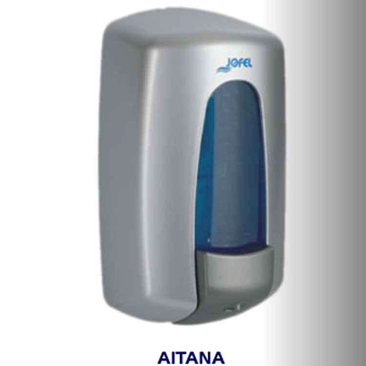 Dispensador de jab n rellenable gris capacidad de 1000 ml for Dispensador de jabon de pared