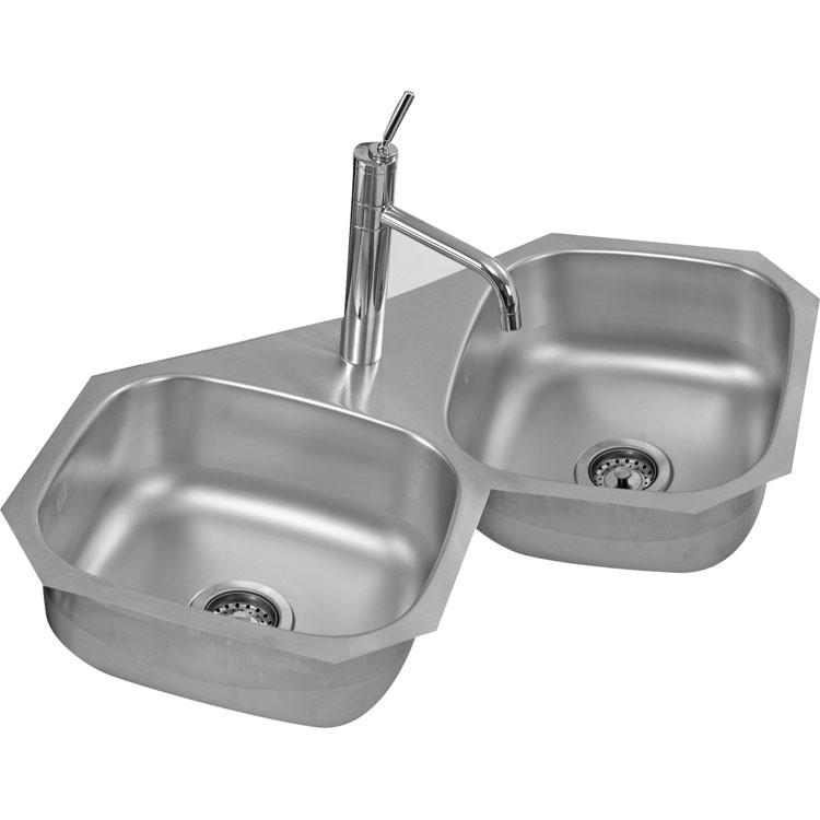 Fregadero de acero inoxidable para submontar de doble tina for Accesorios para cocina en acero inoxidable