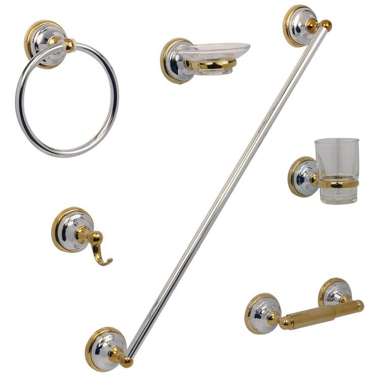 Juego de accesorios capri para empotrar acabado cromo for Accesorios de bano dorados