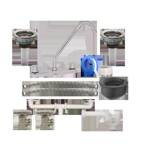 Kit de instalacion para mezcladora de fregadero de doble for Llave mezcladora para fregadero helvex