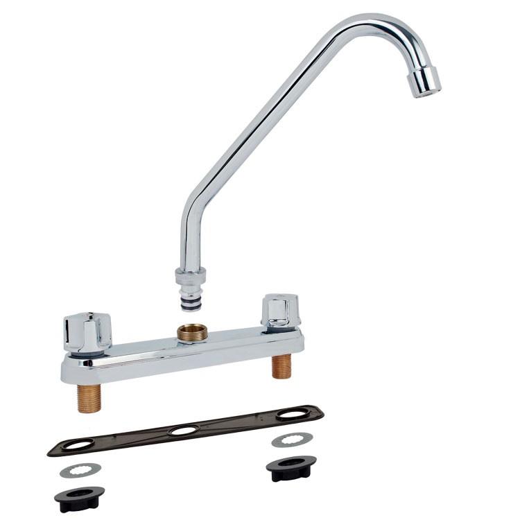 Mezcladora para fregadero al piso con cubierta y manerales for Llaves mezcladoras para regadera helvex