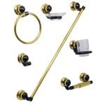 Juego de accesorios Rumana para empotrar en acabado negro oro - JE-23N