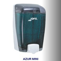 Dispensador de jabón rellenable color transparente con base y pulsador blanco, con capacidad de 400 ml - AC84000